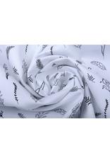 Stenzo 100% Digital Baumwolle Blätter und Federn Schwarz Weiß