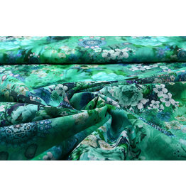 Stenzo 100% Voile Cotton Flowers Blue Green