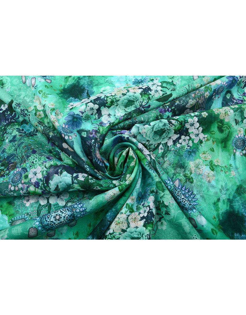 Stenzo 100% Voile Baumwolle Blumen Blau Grün