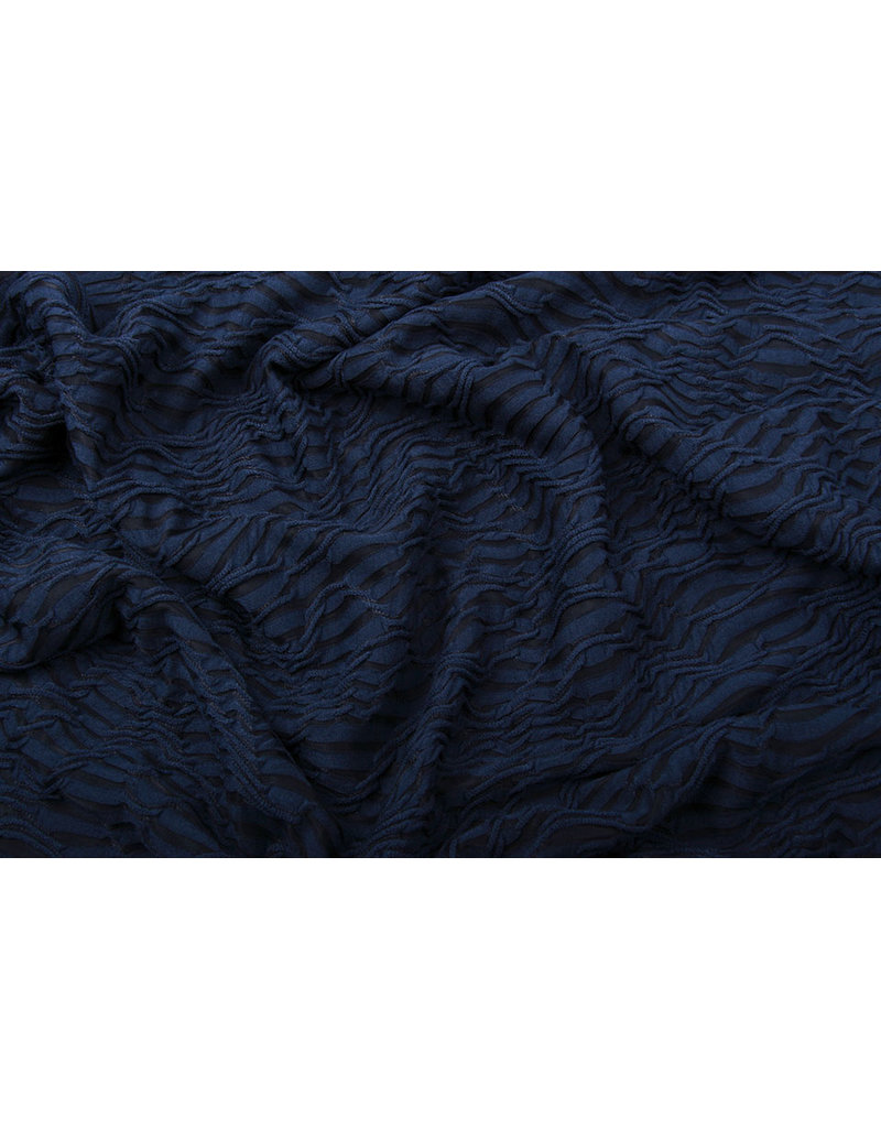 Jacquard Kant Marine Blauw
