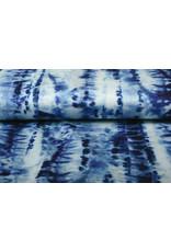 Digital Baumwoll Stretch Tie und Dye Blau