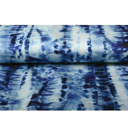 Digitaal Stretch Katoen Tie and Dye Blauw