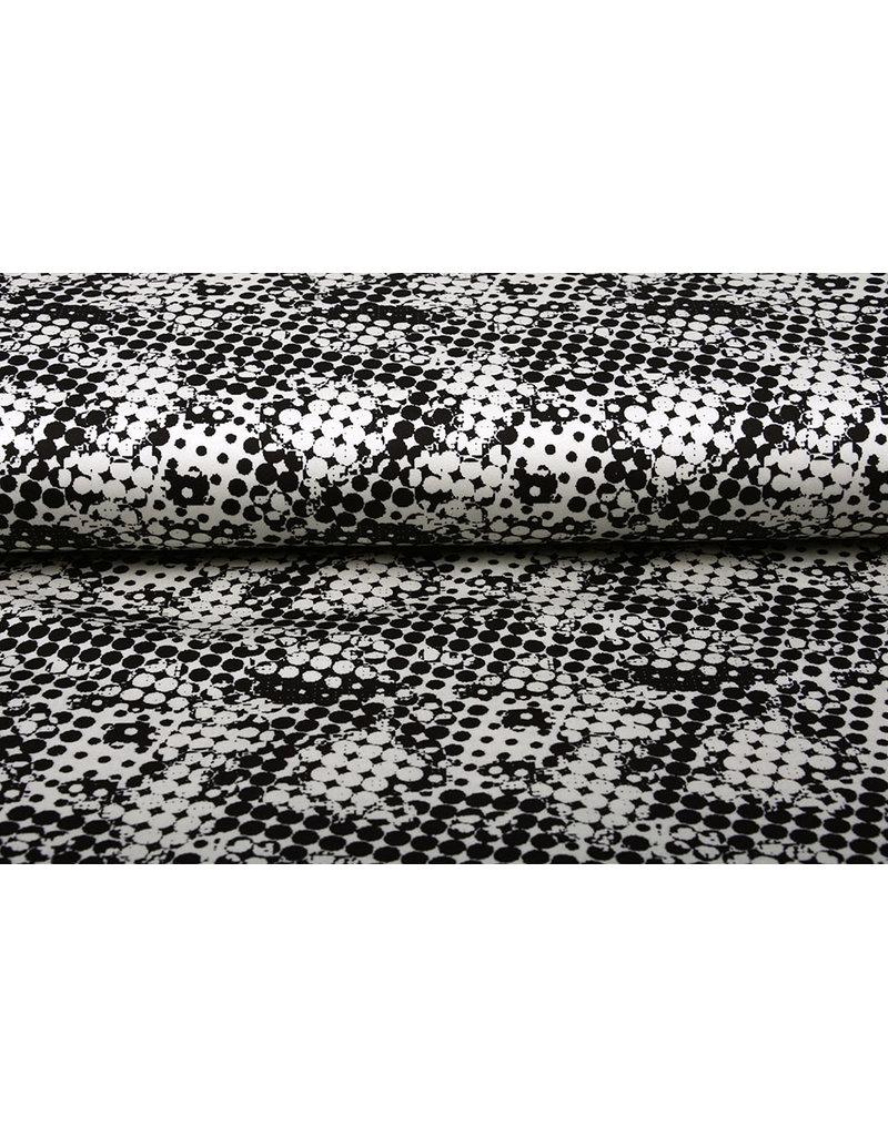 Digitaal Stretch Katoen Spots Zwart Wit