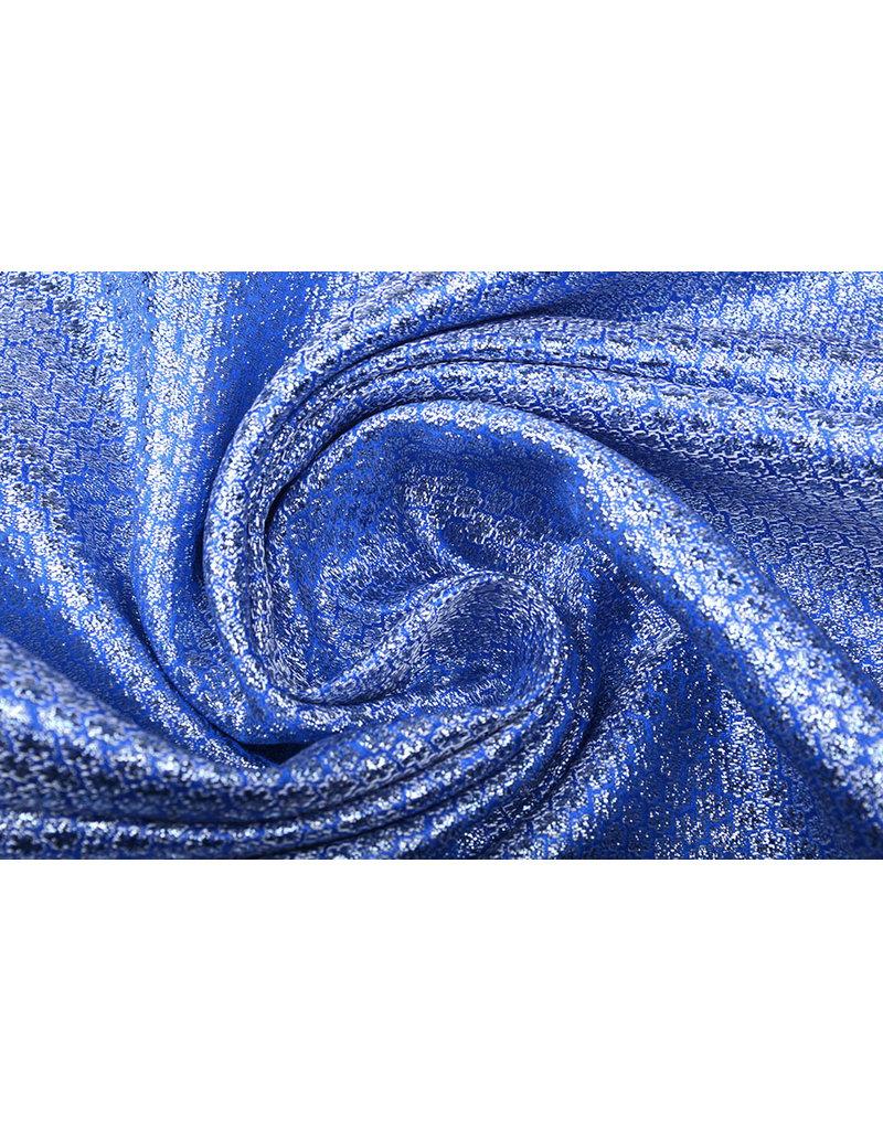 Brokaat Kleine Bloemen Blauw