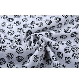Stenzo 100% Digital Cotton Circle Swirl White