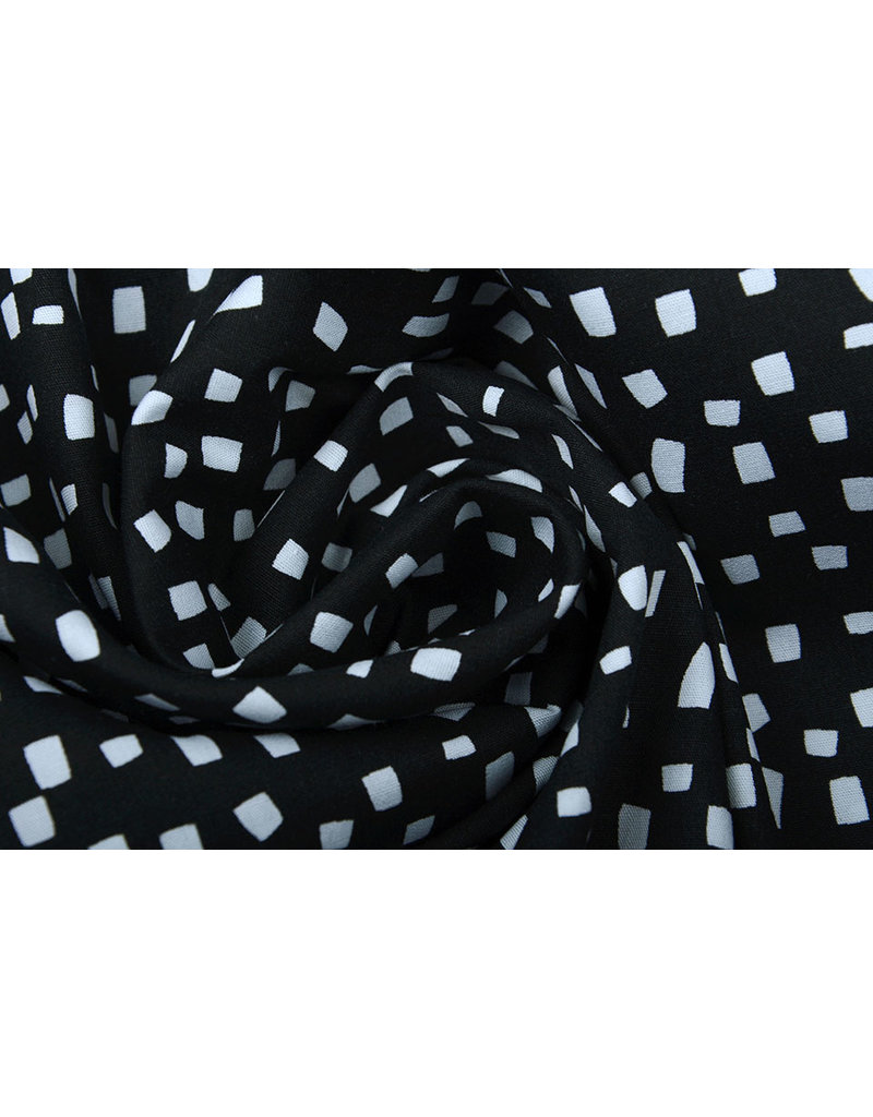 Stenzo 100% Digital Baumwolle Squares Schwarz Weiß