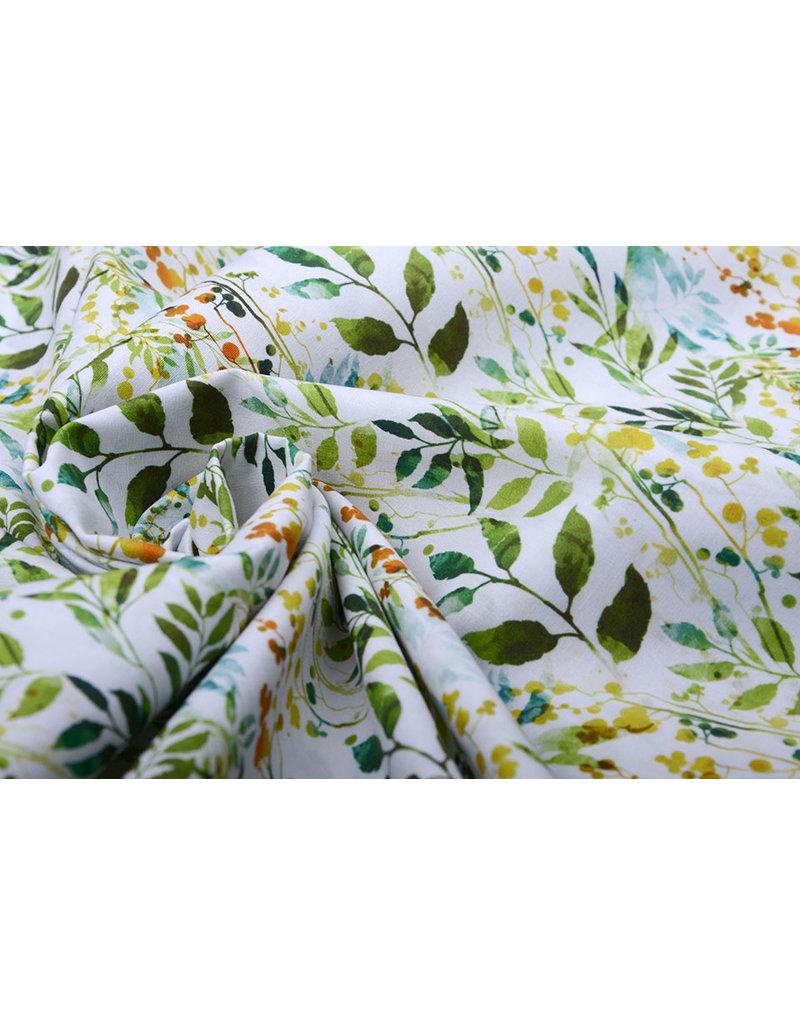 Stenzo 100% Digital Baumwolle Blätter Grün