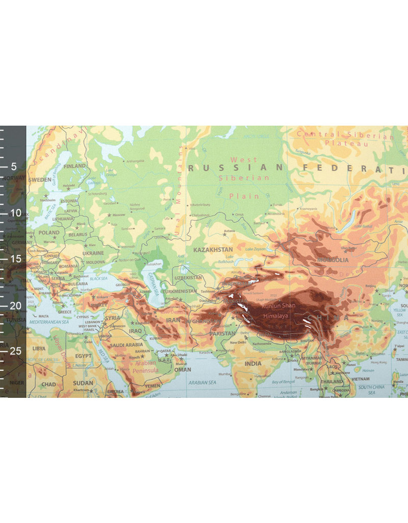 Digitaal Paneel Stretch Katoen Wereldkaart Oud Groen