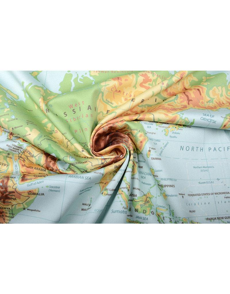 Digital Panel Stretch Baumwolle Weltkarte Altgrün