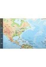 Digitaal Paneel Stretch Katoen Wereldkaart Blauw