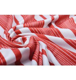 Viskose Jersey Sommer Streifen Rot