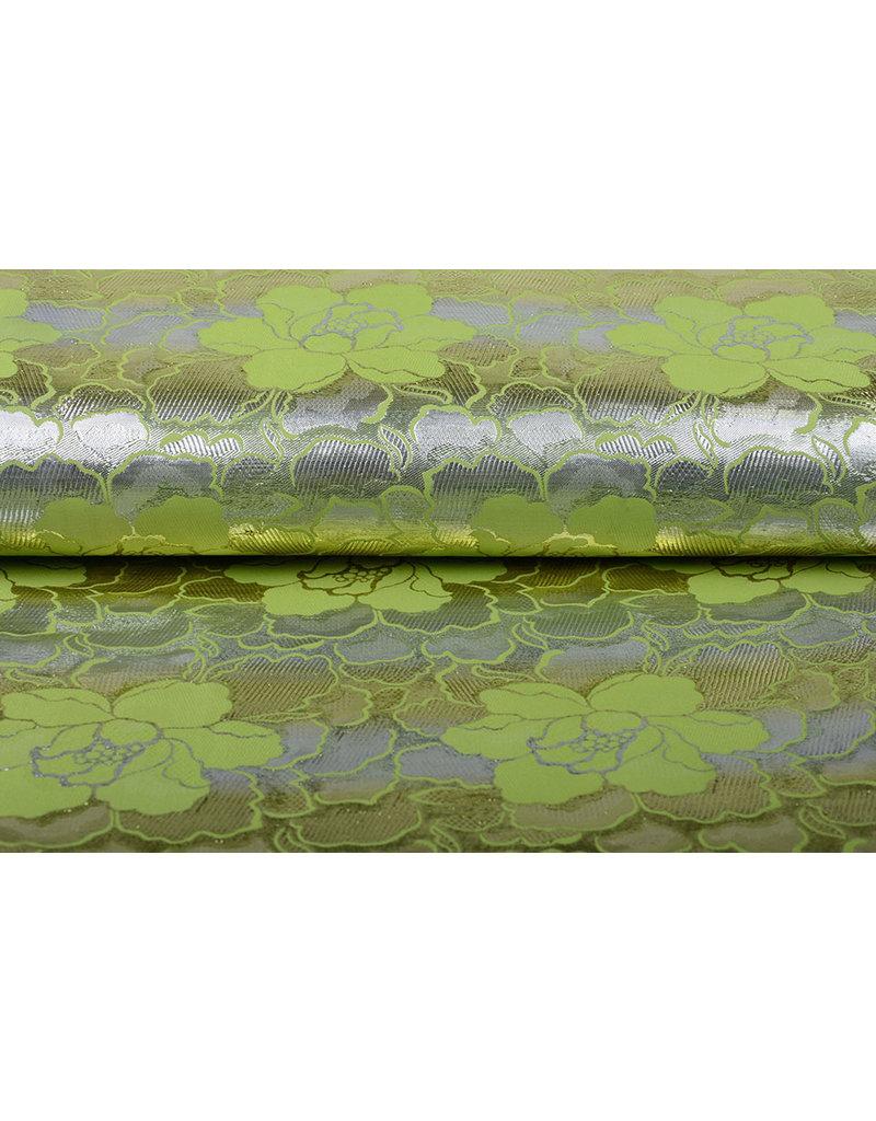 Brokaat Bloemen Lorea Zilver Groen