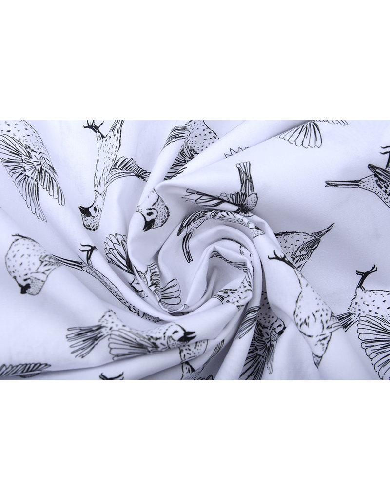 Stenzo 100% Digital Baumwolle Spatzen Weiß Schwarz