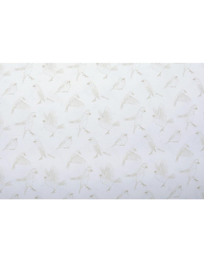 Stenzo 100% Digital Baumwolle Spatzen Creme Sand