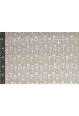 Stenzo 100% Baumwolle Blumen Sand Weiß