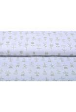 Stenzo 100% Baumwolle Blumen Weiß Sand