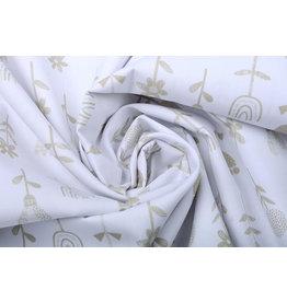 Stenzo 100% Cotton Flowers White Sand