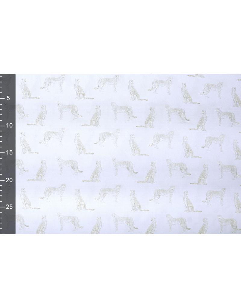 Stenzo 100% Digital Baumwolle Leopard Weiß Sand