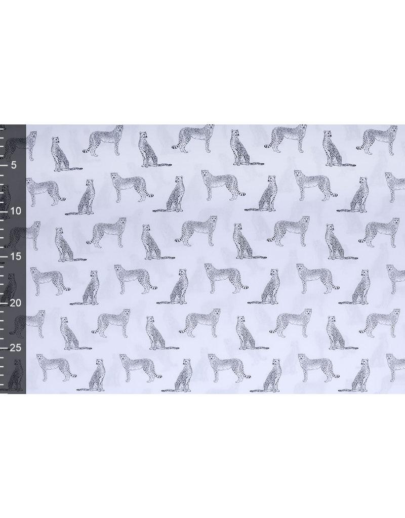 Stenzo 100% Digital Baumwolle Leopard Weiß Schwarz