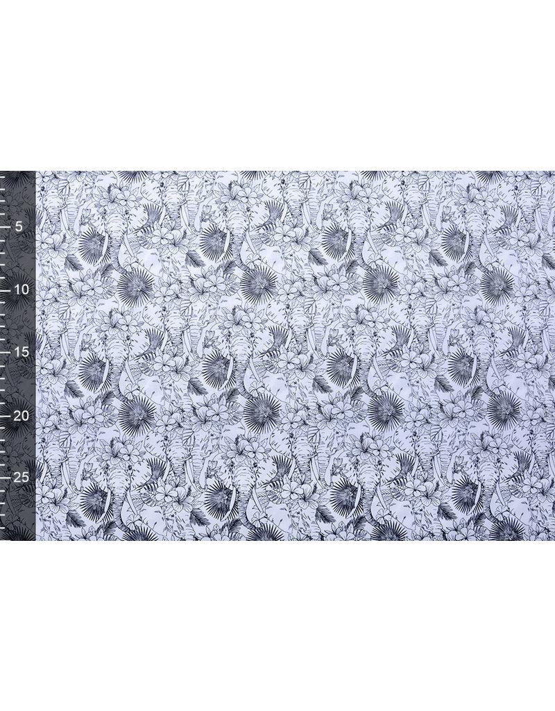 Stenzo 100% Digital Baumwolle Elefant im Dschungel Weiß Schwarz
