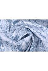Stenzo 100% Digital Baumwolle Elefant im Dschungel Weiß Marine