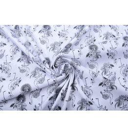 Stenzo 100% Digital Cotton Tropical Flamingo White Black