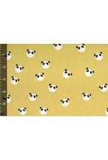 100% Gewassen Katoen Panda Oker Geel