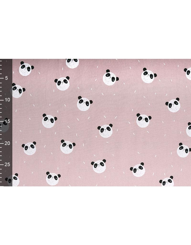 100% Gewassen Katoen Panda Oud Roze