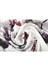Leinenoptik Bedruckt Blumen  Bordeaux Flieder