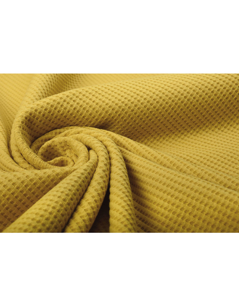 Stenzo Baby Jersey Waffle Pique Fabric Ocher Yellow