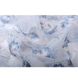 Netz Bestickt Blume Blau Rosa