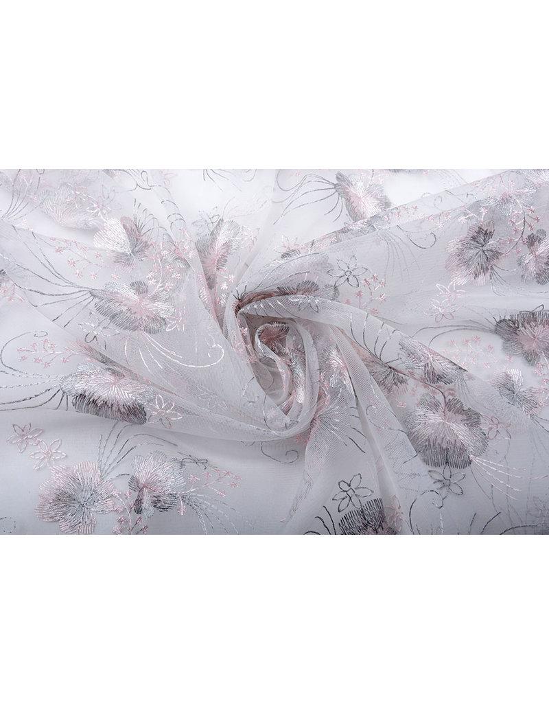 Netz Bestickt Blume Silber Rosa