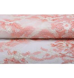 Mesh Embroidered Oliva Creme Pink