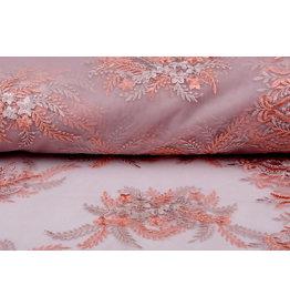 Mesh Embroidered Oliva Old Pink - Pink