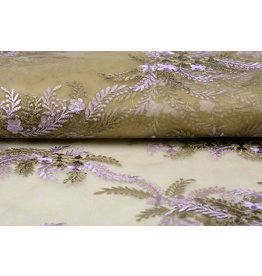 Mesh Embroidered Oliva Brown Gold - Lilac