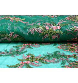 Mesh Embroidered Oliva Green Pink