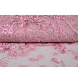 Mesh Embroidered Kipas Pink