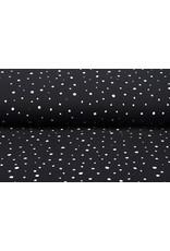Baumwoll Musselin Punkte Schwarz Weiß
