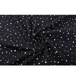 Double Gauze Fabric Dots Black White