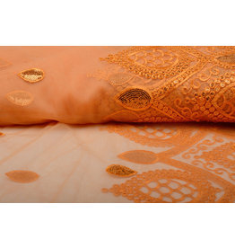 Mesh Embroidered Qatra Orange