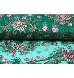 Netz Bestickt Fjura Grün Rosa