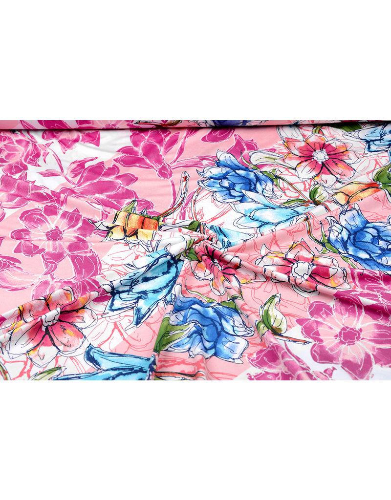 Jersey Lycra Gemalte Blume Rosa
