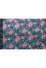 Nicki Samt Blumen Marine Blau