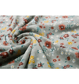 Nicky Velours Small Flowers Grey
