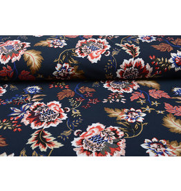 Scuba Crepe Printed Library Flowers Navy Blue