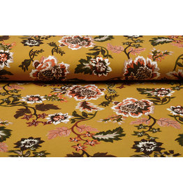 Scuba Crepe Printed Library Flowers Yellow