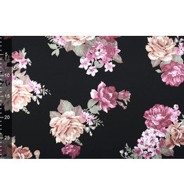 Scuba Crepe Foil Printed Roses Aubergine