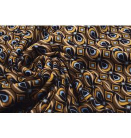 Scuba Crepe Printed Retio Brown