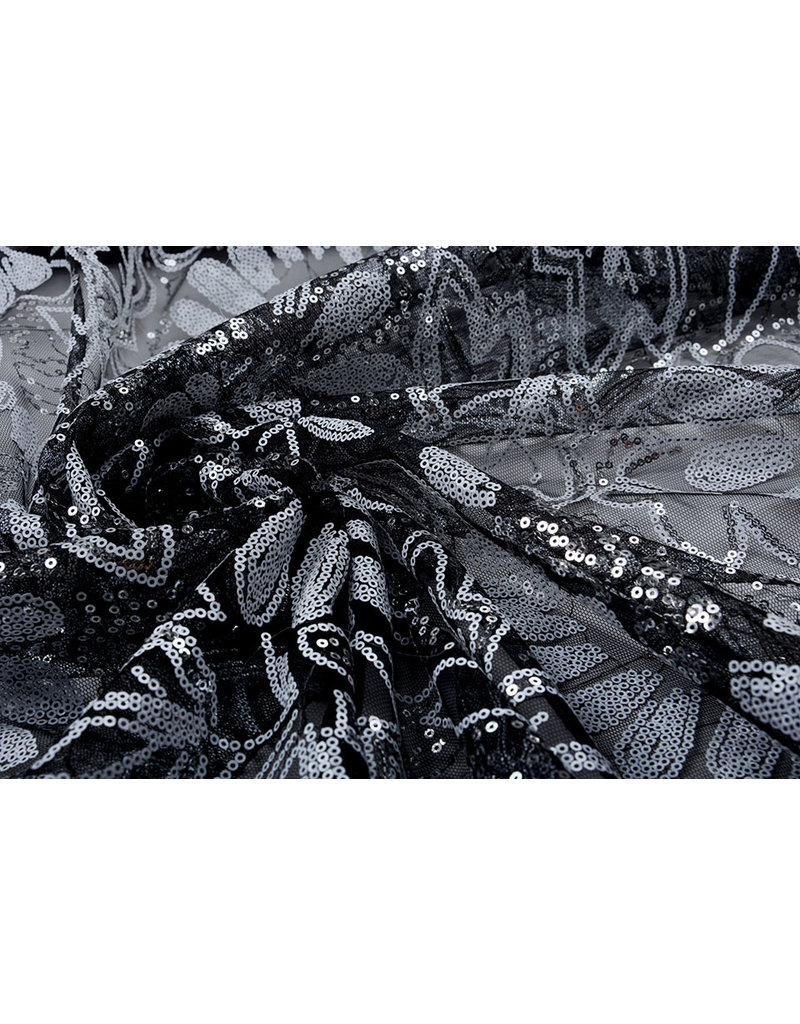 Netz Pailletten Pango Schwarz Weiß