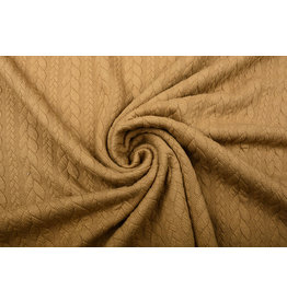 Knitted Cable Fabric Tricot Mocha Brown